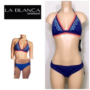 La Blanca Embroidered Leaf bikini. NWT